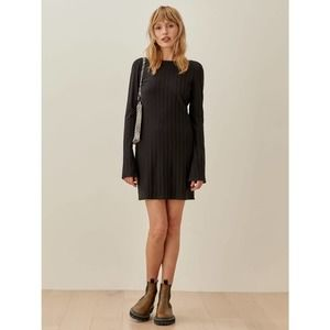 Reformation Cait Dress Black Small